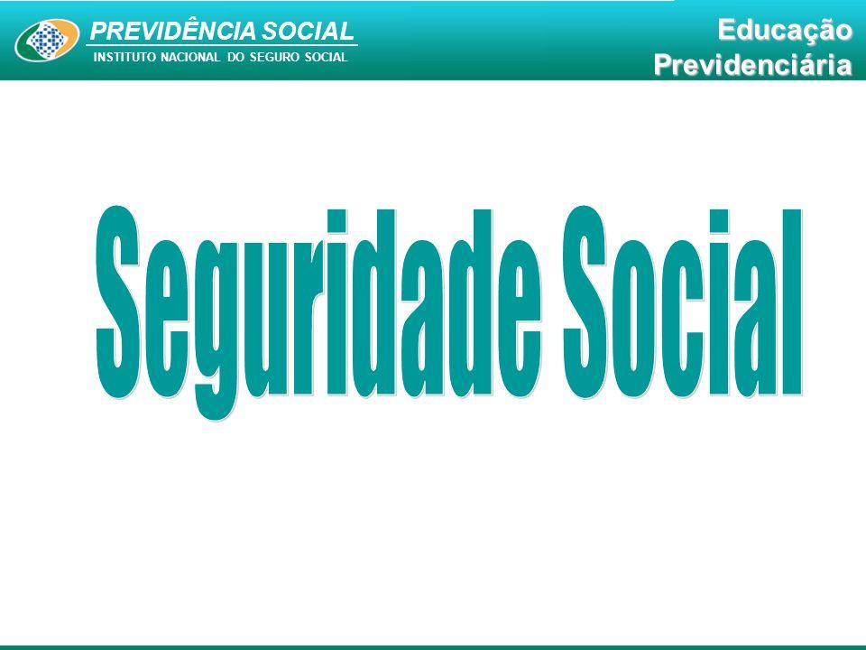 PREVIDÊNCIA SOCIAL INSTITUTO NACIONAL DO SEGURO SOCIAL EducaçãoPrevidenciária Seguridade Social A Seguridade Social compreende um conjunto integrado de ações de iniciativa dos poderes públicos e da sociedade, destinadas a assegurar os direitos relativos à saúde, à previdência e à assistência social.