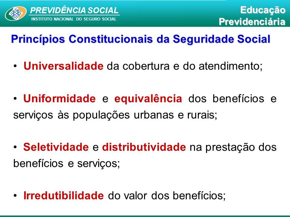 PREVIDÊNCIA SOCIAL INSTITUTO NACIONAL DO SEGURO SOCIAL EducaçãoPrevidenciária Princípios Constitucionais da Seguridade Social Equidade na forma de participação no custeio; Diversidade da base de financiamento;