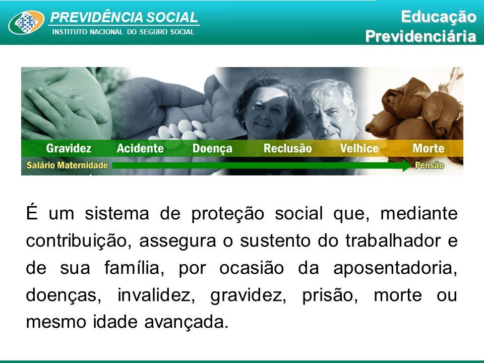 PREVIDÊNCIA SOCIAL INSTITUTO NACIONAL DO SEGURO SOCIAL EducaçãoPrevidenciária A Previdência Social constitui-se numa política pública social eficiente e exerce um papel fundamental na manutenção da sustentabilidade e tranquilidade social do país.
