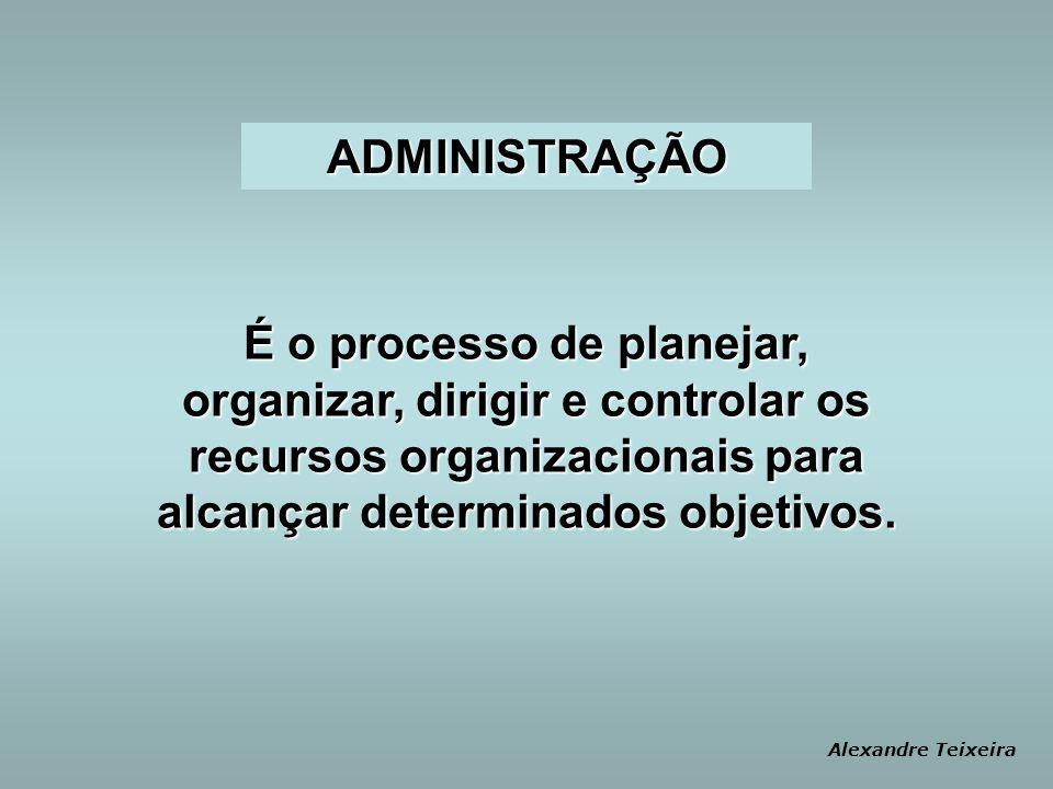 É o processo de planejar, organizar, dirigir e controlar os recursos organizacionais para alcançar determinados objetivos.