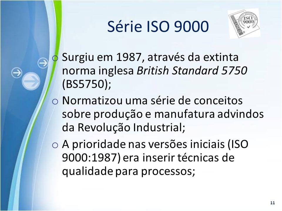o Surgiu em 1987, através da extinta norma inglesa British Standard 5750 (BS5750); o Normatizou uma série de conceitos sobre produção e manufatura adv