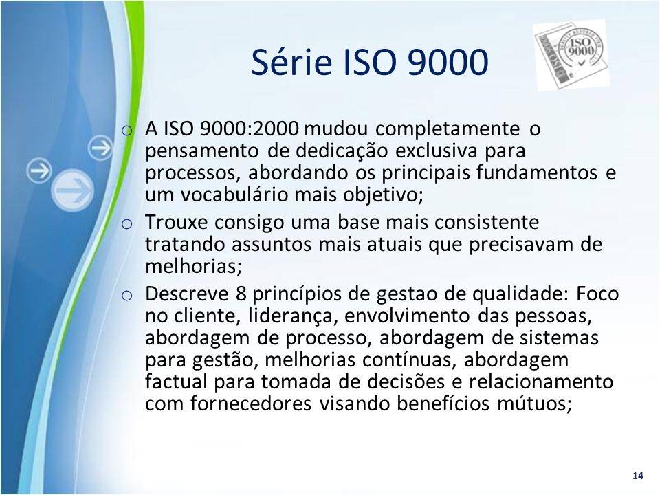 o A ISO 9000:2000 mudou completamente o pensamento de dedicação exclusiva para processos, abordando os principais fundamentos e um vocabulário mais ob