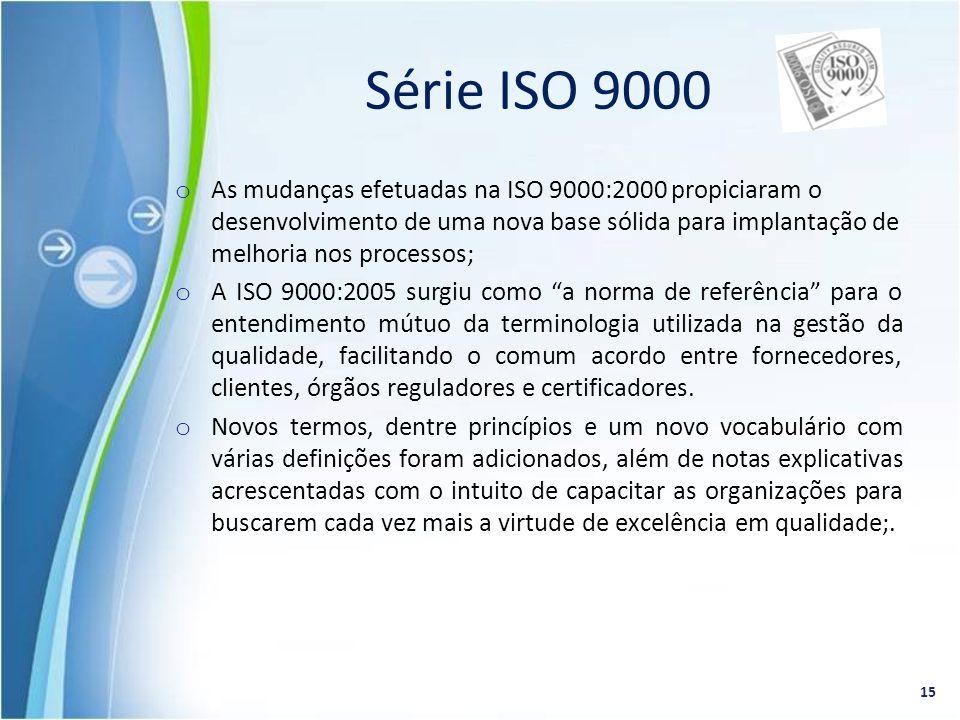 o As mudanças efetuadas na ISO 9000:2000 propiciaram o desenvolvimento de uma nova base sólida para implantação de melhoria nos processos; o A ISO 900