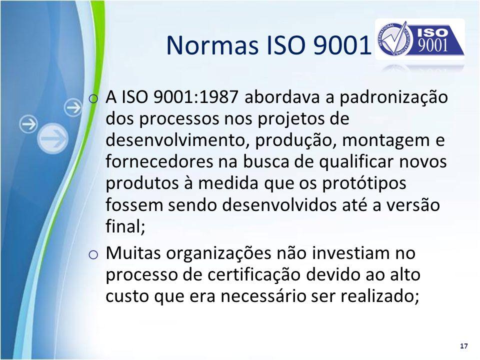 o A ISO 9001:1987 abordava a padronização dos processos nos projetos de desenvolvimento, produção, montagem e fornecedores na busca de qualificar novo