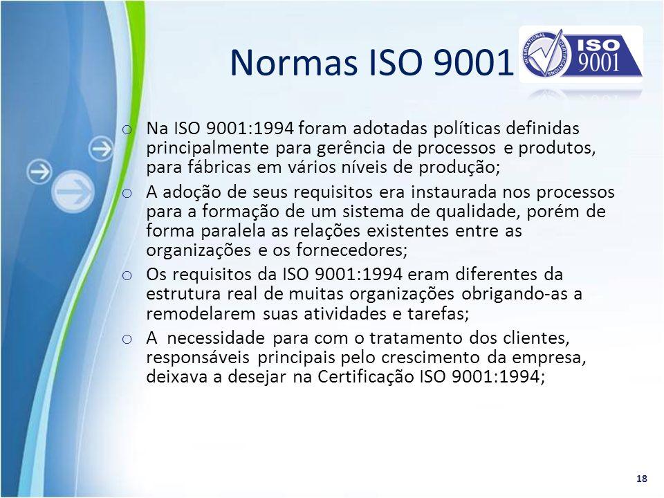 o Na ISO 9001:1994 foram adotadas políticas definidas principalmente para gerência de processos e produtos, para fábricas em vários níveis de produção