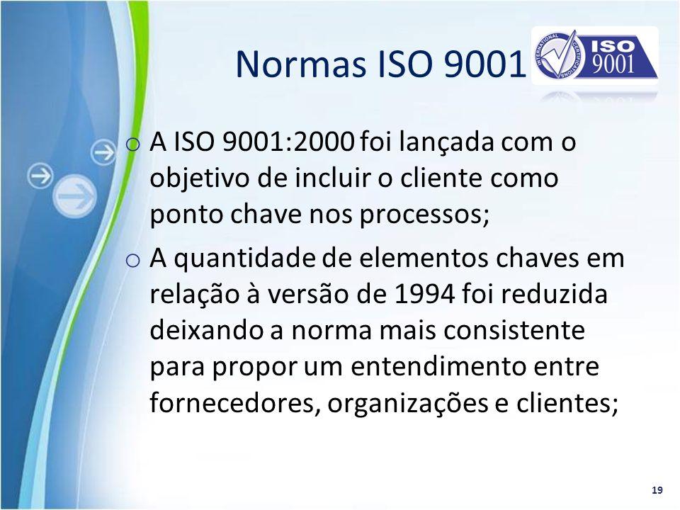 o A ISO 9001:2000 foi lançada com o objetivo de incluir o cliente como ponto chave nos processos; o A quantidade de elementos chaves em relação à vers
