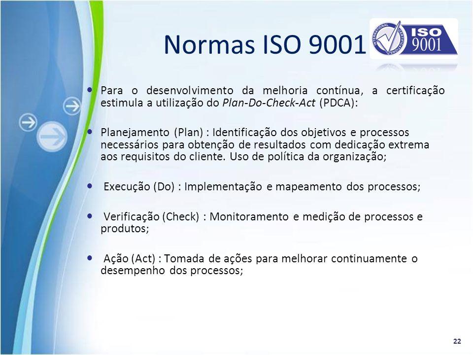 Para o desenvolvimento da melhoria contínua, a certificação estimula a utilização do Plan-Do-Check-Act (PDCA): Planejamento (Plan) : Identificação dos