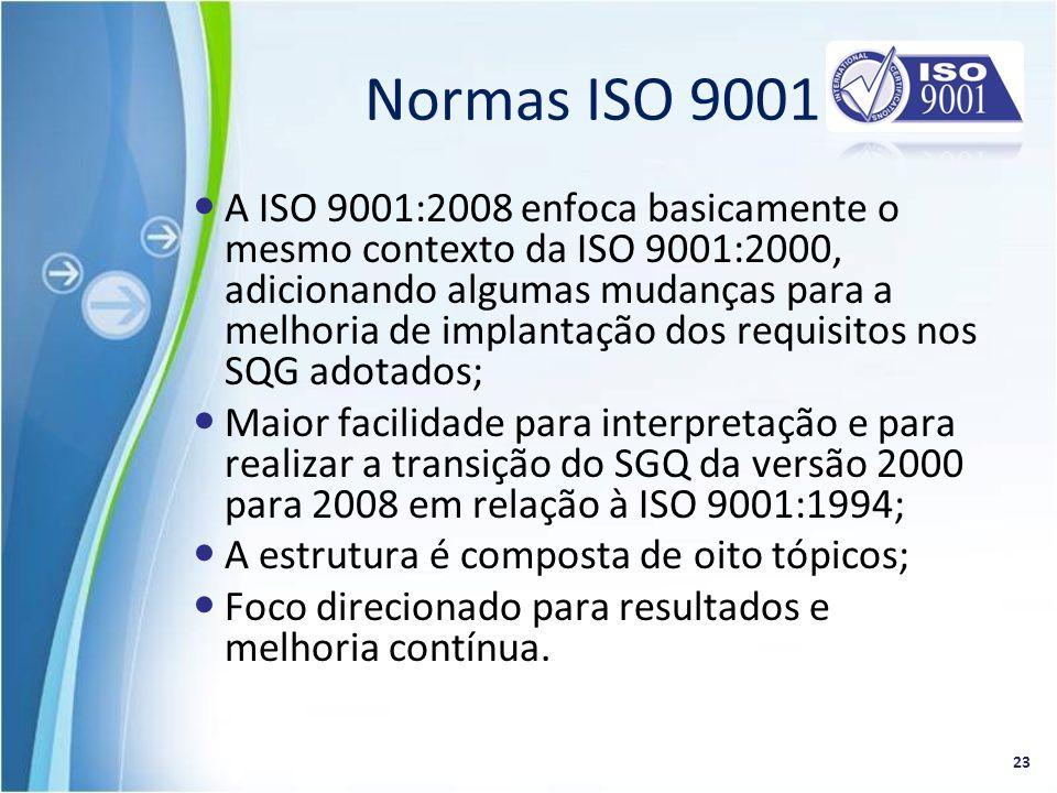 A ISO 9001:2008 enfoca basicamente o mesmo contexto da ISO 9001:2000, adicionando algumas mudanças para a melhoria de implantação dos requisitos nos S