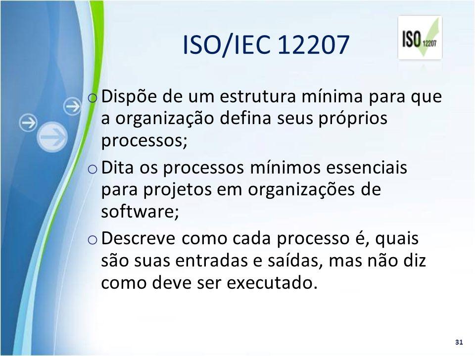 o Dispõe de um estrutura mínima para que a organização defina seus próprios processos; o Dita os processos mínimos essenciais para projetos em organiz