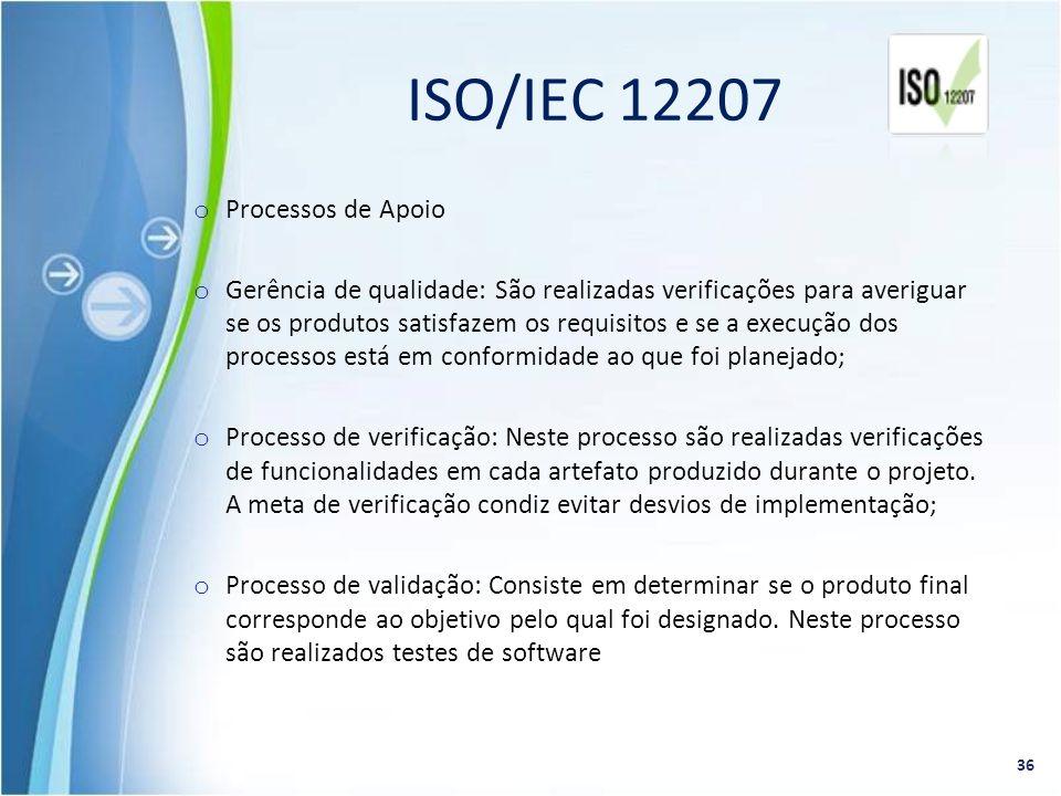 o Processos de Apoio o Gerência de qualidade: São realizadas verificações para averiguar se os produtos satisfazem os requisitos e se a execução dos p