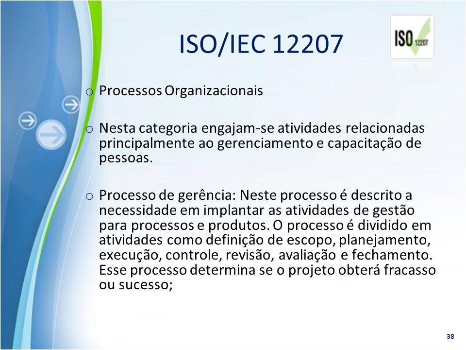 o Processos Organizacionais o Nesta categoria engajam-se atividades relacionadas principalmente ao gerenciamento e capacitação de pessoas. o Processo