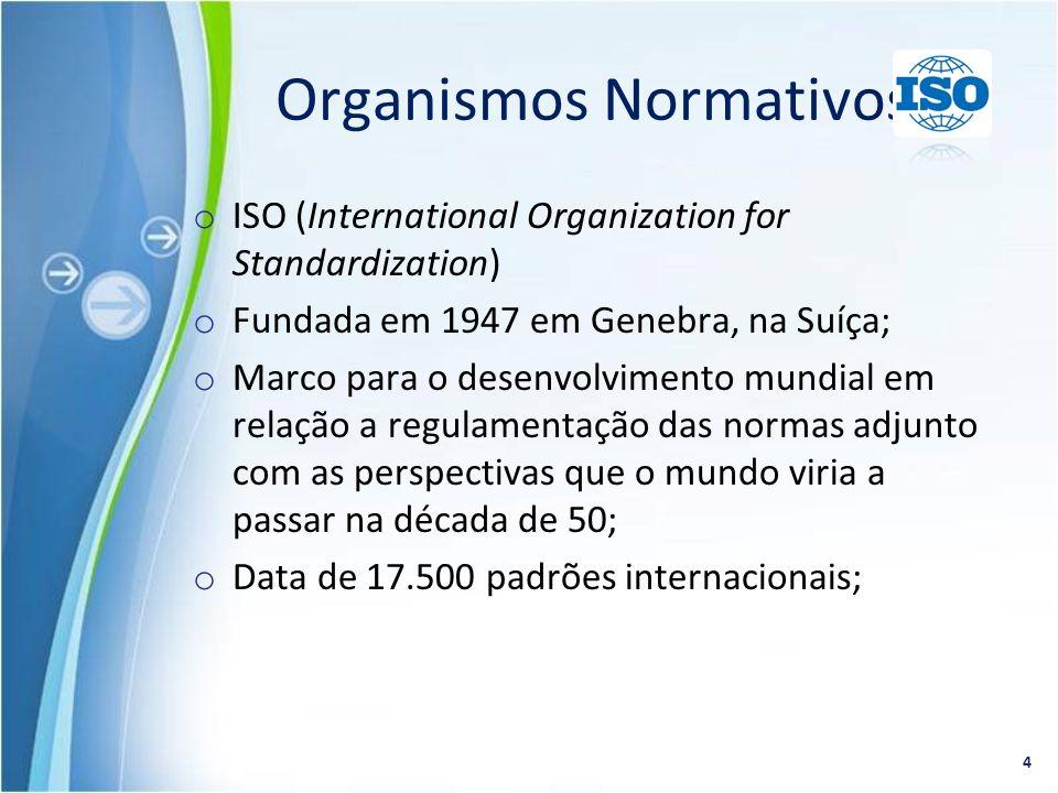 o ISO (International Organization for Standardization) o Fundada em 1947 em Genebra, na Suíça; o Marco para o desenvolvimento mundial em relação a reg