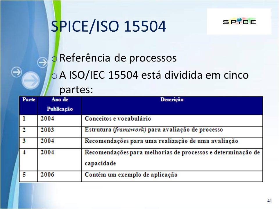 o Referência de processos o A ISO/IEC 15504 está dividida em cinco partes: 41 SPICE/ISO 15504