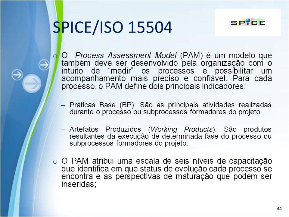 o O Process Assessment Model (PAM) é um modelo que também deve ser desenvolvido pela organização com o intuito de medir os processos e possibilitar um