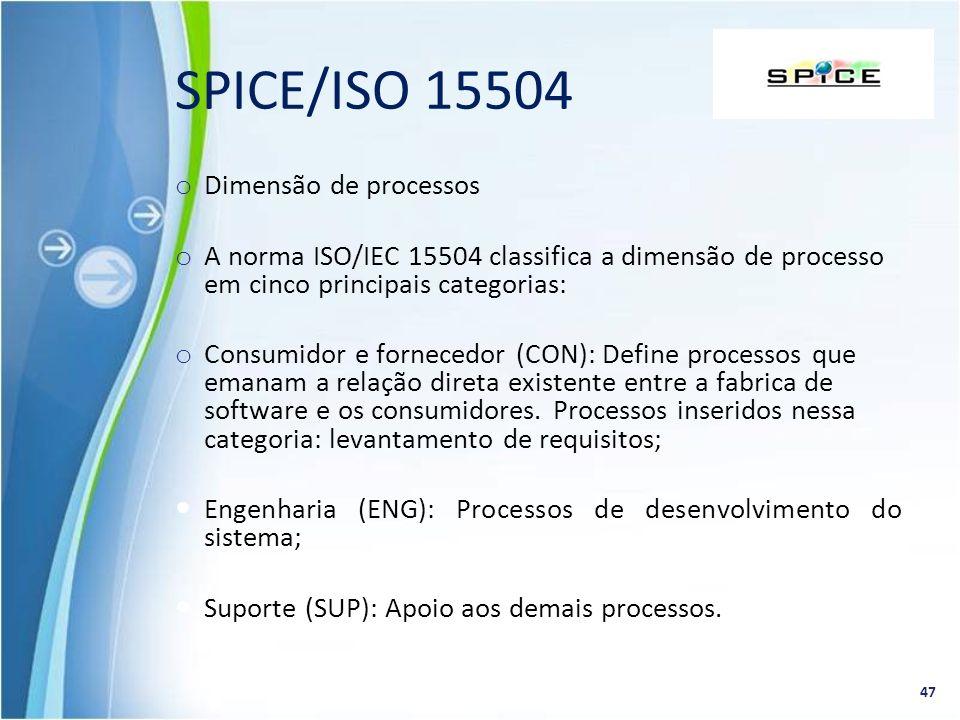 o Dimensão de processos o A norma ISO/IEC 15504 classifica a dimensão de processo em cinco principais categorias: o Consumidor e fornecedor (CON): Def