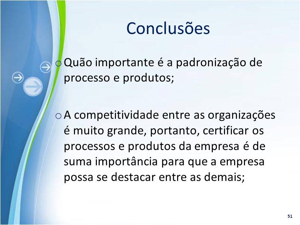 o Quão importante é a padronização de processo e produtos; o A competitividade entre as organizações é muito grande, portanto, certificar os processos