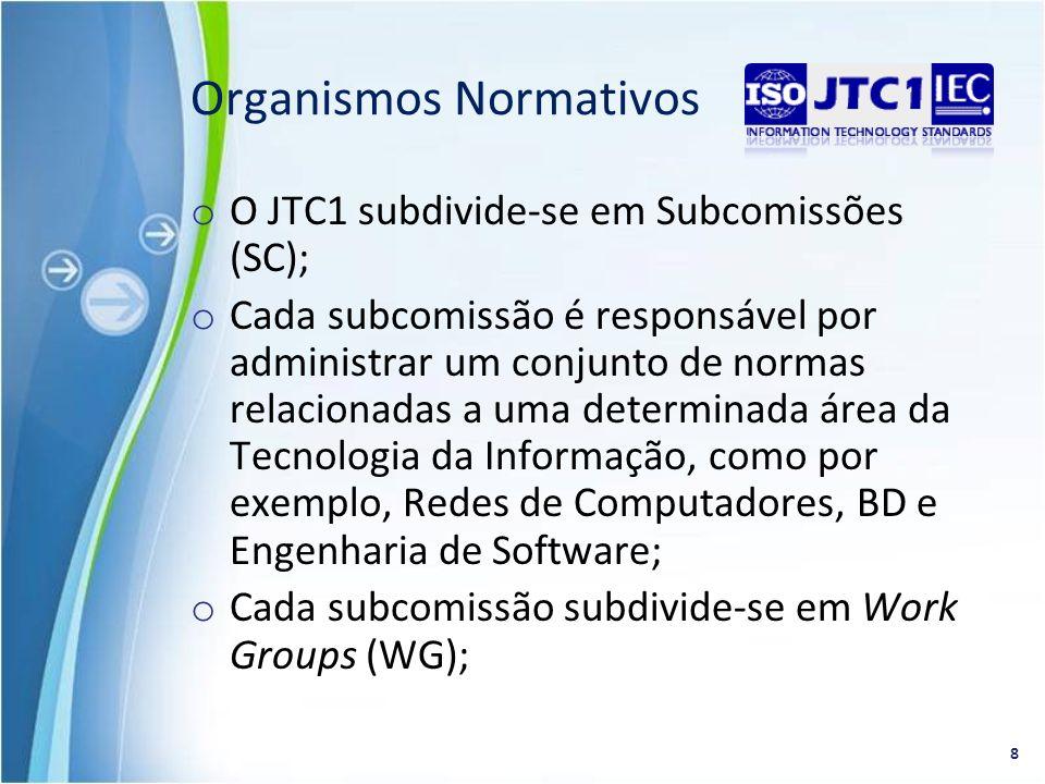 o O JTC1 subdivide-se em Subcomissões (SC); o Cada subcomissão é responsável por administrar um conjunto de normas relacionadas a uma determinada área