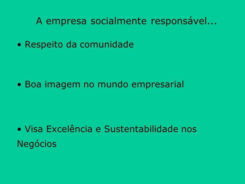 Respeito da comunidade Boa imagem no mundo empresarial Visa Excelência e Sustentabilidade nos Negócios A empresa socialmente responsável...