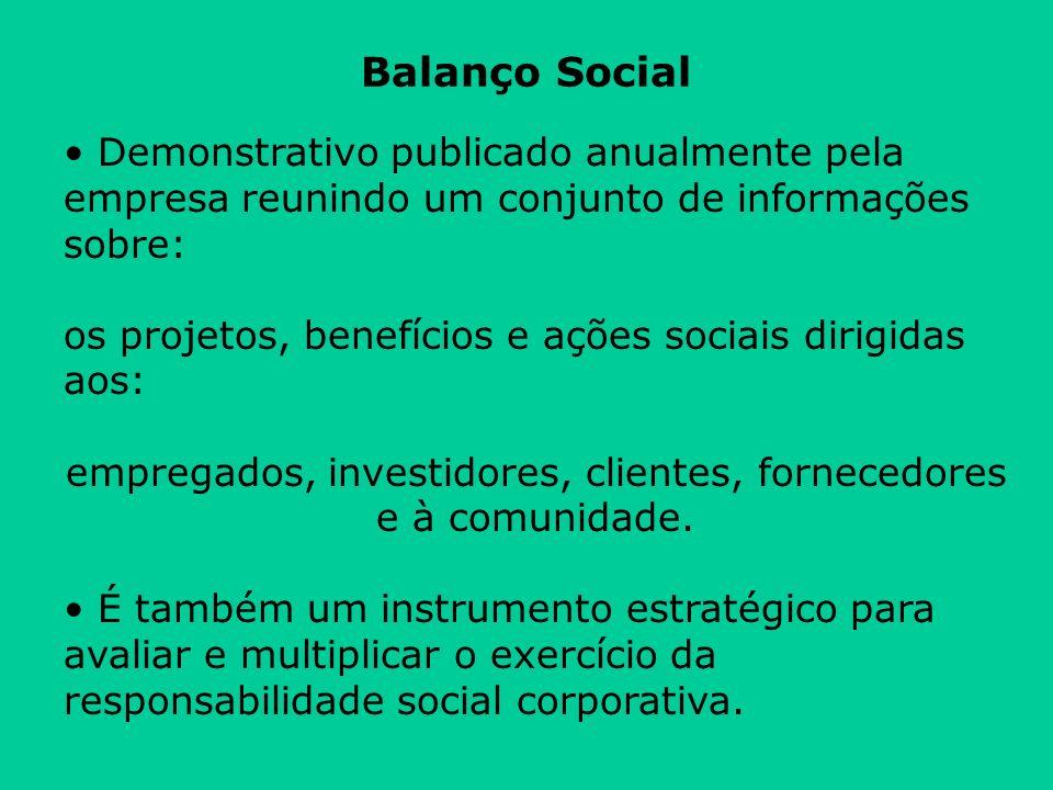 Balanço Social Demonstrativo publicado anualmente pela empresa reunindo um conjunto de informações sobre: os projetos, benefícios e ações sociais diri