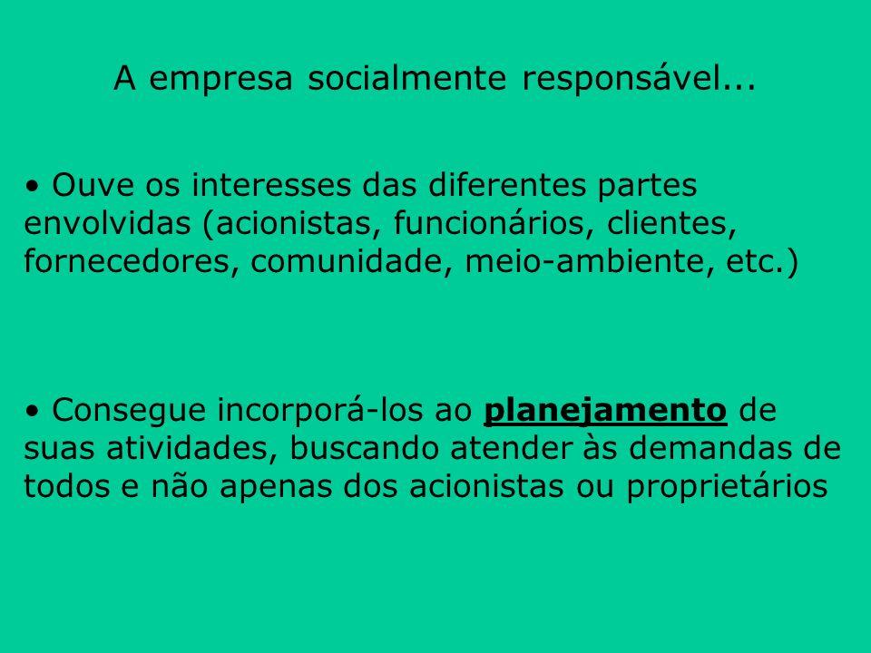 A empresa socialmente responsável... Ouve os interesses das diferentes partes envolvidas (acionistas, funcionários, clientes, fornecedores, comunidade