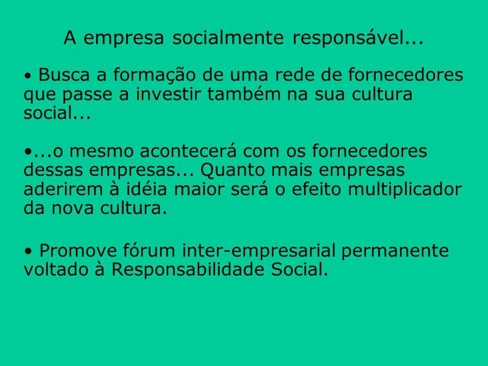 Busca a formação de uma rede de fornecedores que passe a investir também na sua cultura social......o mesmo acontecerá com os fornecedores dessas empr
