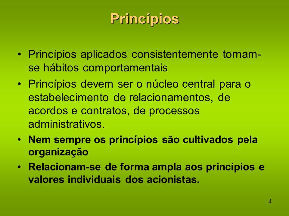 3 Princípios São Lemas Orientadores Regras ou códigos de conduta segundo os quais as pessoas governam suas ações – em sua vida profissional e social S