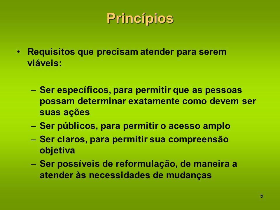4Princípios Princípios aplicados consistentemente tornam- se hábitos comportamentais Princípios devem ser o núcleo central para o estabelecimento de r