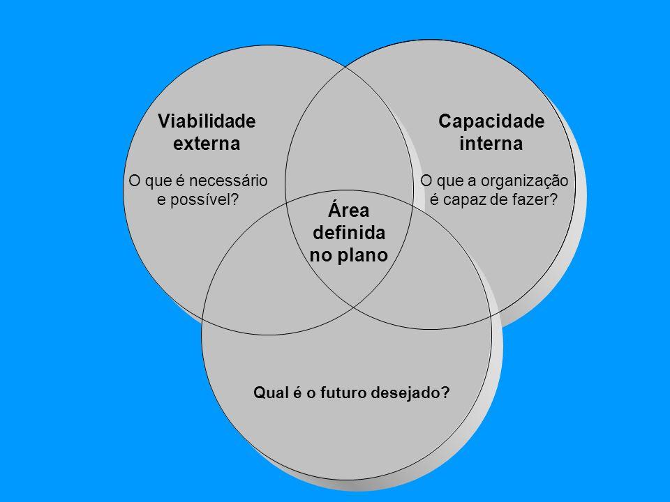 Viabilidade externa O que é necessário e possível? Área definida no plano Qual é o futuro desejado? Capacidade interna O que a organização é capaz de