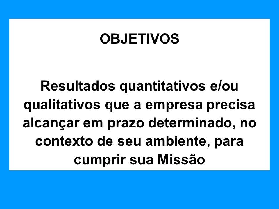 OBJETIVOS Resultados quantitativos e/ou qualitativos que a empresa precisa alcançar em prazo determinado, no contexto de seu ambiente, para cumprir su
