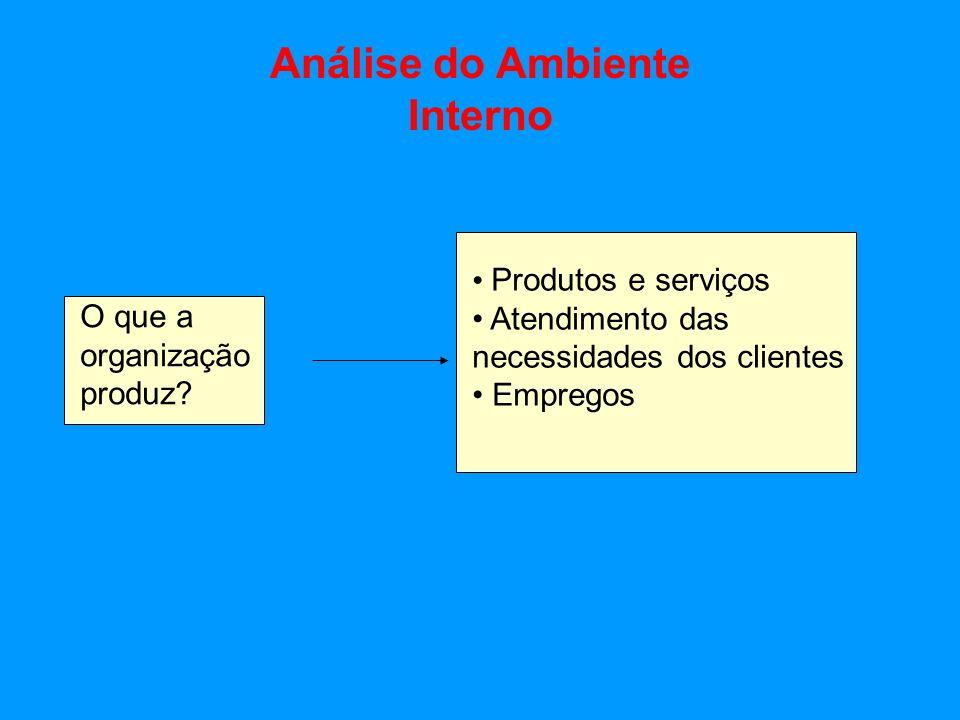 Interno O que a organização produz? Produtos e serviços Atendimento das necessidades dos clientes Empregos