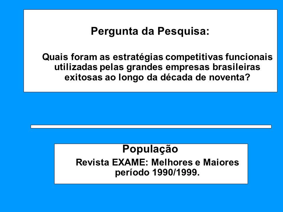 Pergunta da Pesquisa: Quais foram as estratégias competitivas funcionais utilizadas pelas grandes empresas brasileiras exitosas ao longo da década de