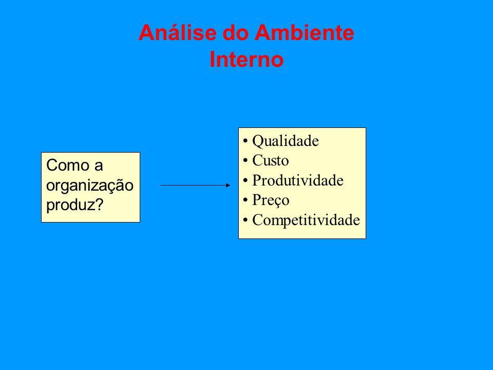 Análise do Ambiente Interno Como a organização produz? Qualidade Custo Produtividade Preço Competitividade
