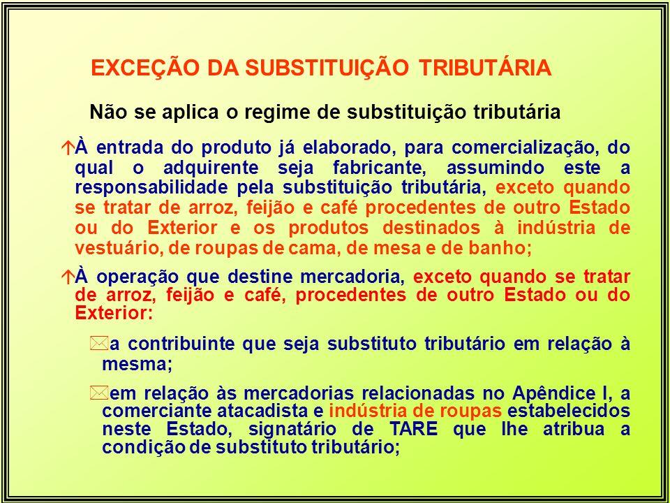 Não se aplica o regime de substituição tributária áÀ entrada do produto já elaborado, para comercialização, do qual o adquirente seja fabricante, assu