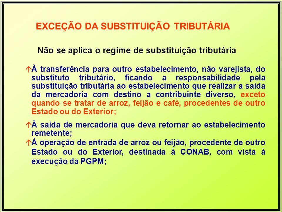 Não se aplica o regime de substituição tributária áÀ transferência para outro estabelecimento, não varejista, do substituto tributário, ficando a resp