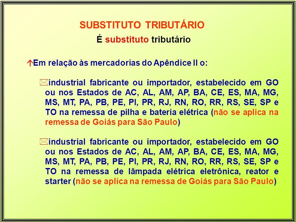 É substituto tributário áEm relação às mercadorias do Apêndice II o: *industrial fabricante ou importador, estabelecido em GO ou nos Estados de AC, AL