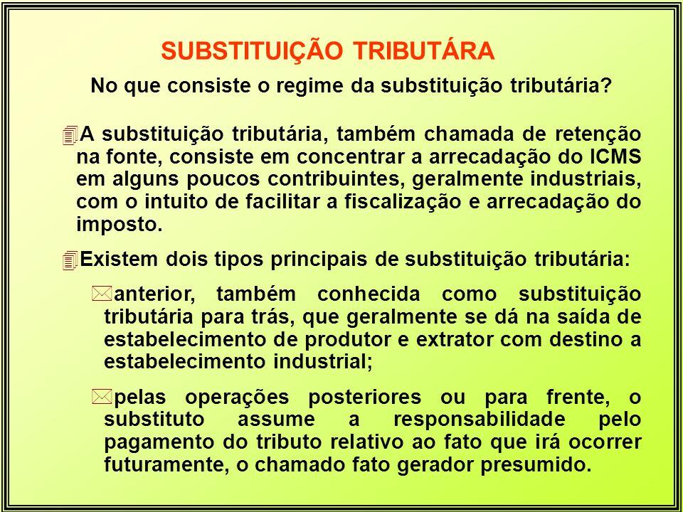 No que consiste o regime da substituição tributária? 4A substituição tributária, também chamada de retenção na fonte, consiste em concentrar a arrecad