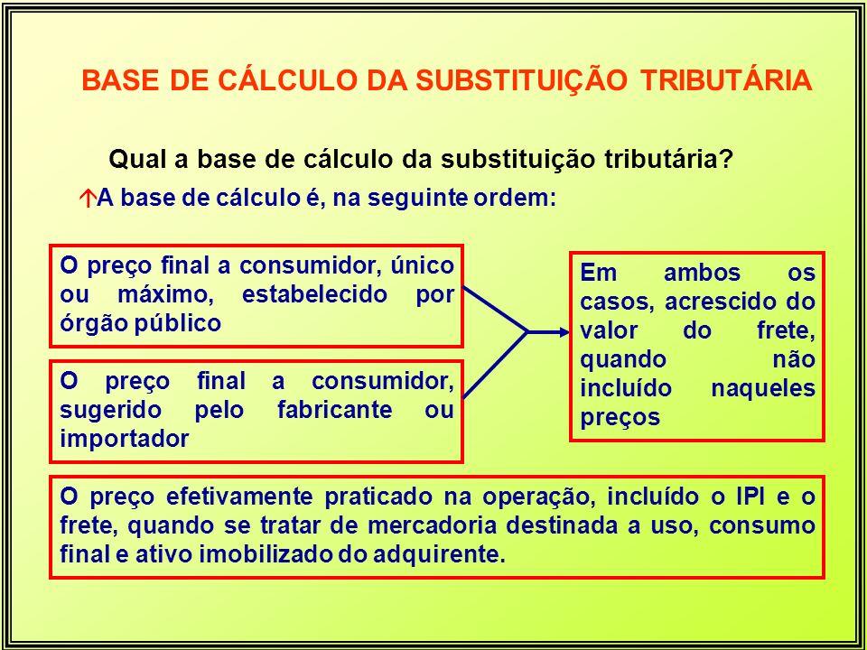 Qual a base de cálculo da substituição tributária? áA base de cálculo é, na seguinte ordem: O preço final a consumidor, único ou máximo, estabelecido