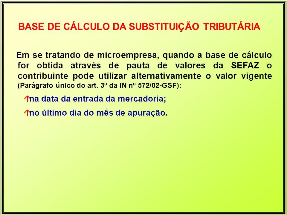 BASE DE CÁLCULO DA SUBSTITUIÇÃO TRIBUTÁRIA Em se tratando de microempresa, quando a base de cálculo for obtida através de pauta de valores da SEFAZ o