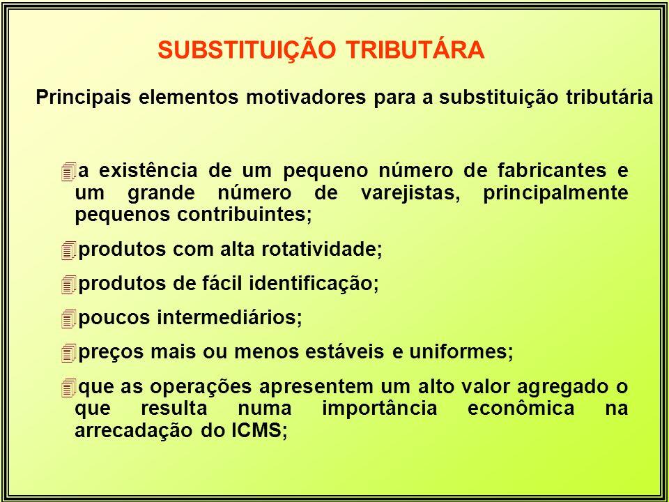 Principais elementos motivadores para a substituição tributária 4a existência de um pequeno número de fabricantes e um grande número de varejistas, pr