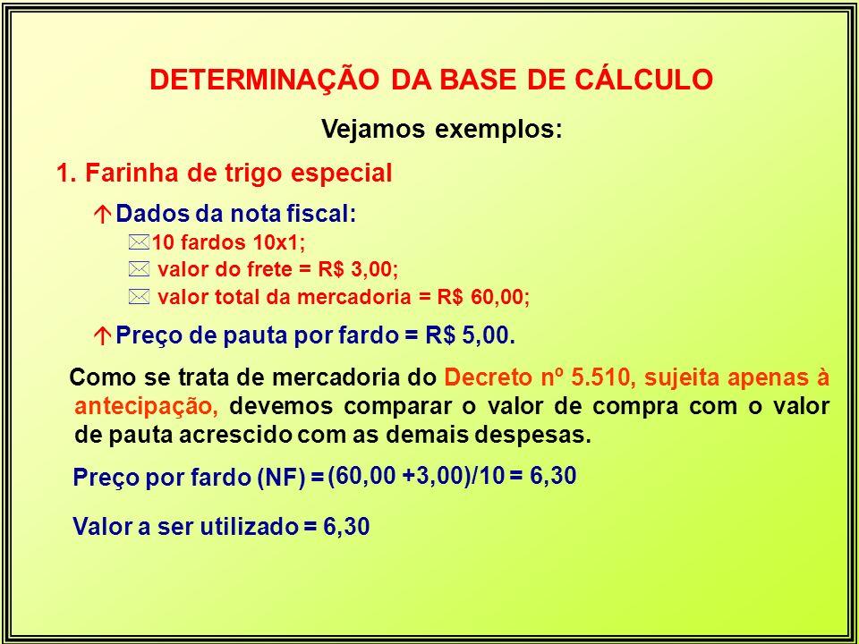 Vejamos exemplos: 1. Farinha de trigo especial á Dados da nota fiscal: *10 fardos 10x1; * valor do frete = R$ 3,00; * valor total da mercadoria = R$ 6