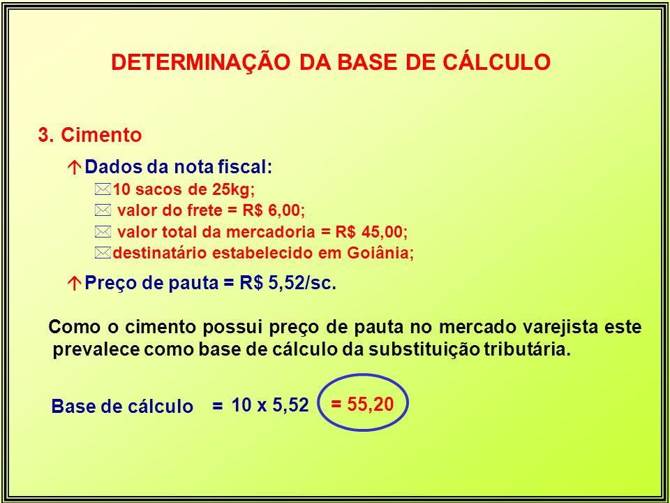 3. Cimento á Dados da nota fiscal: *10 sacos de 25kg; * valor do frete = R$ 6,00; * valor total da mercadoria = R$ 45,00; *destinatário estabelecido e