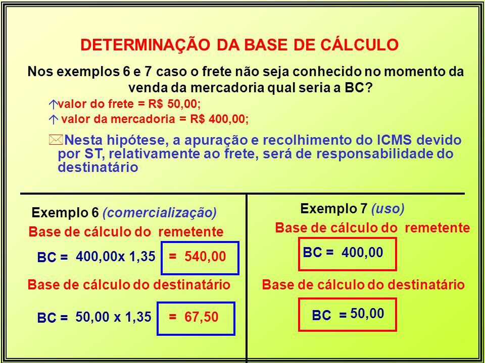 Nos exemplos 6 e 7 caso o frete não seja conhecido no momento da venda da mercadoria qual seria a BC? ávalor do frete = R$ 50,00; á valor da mercadori