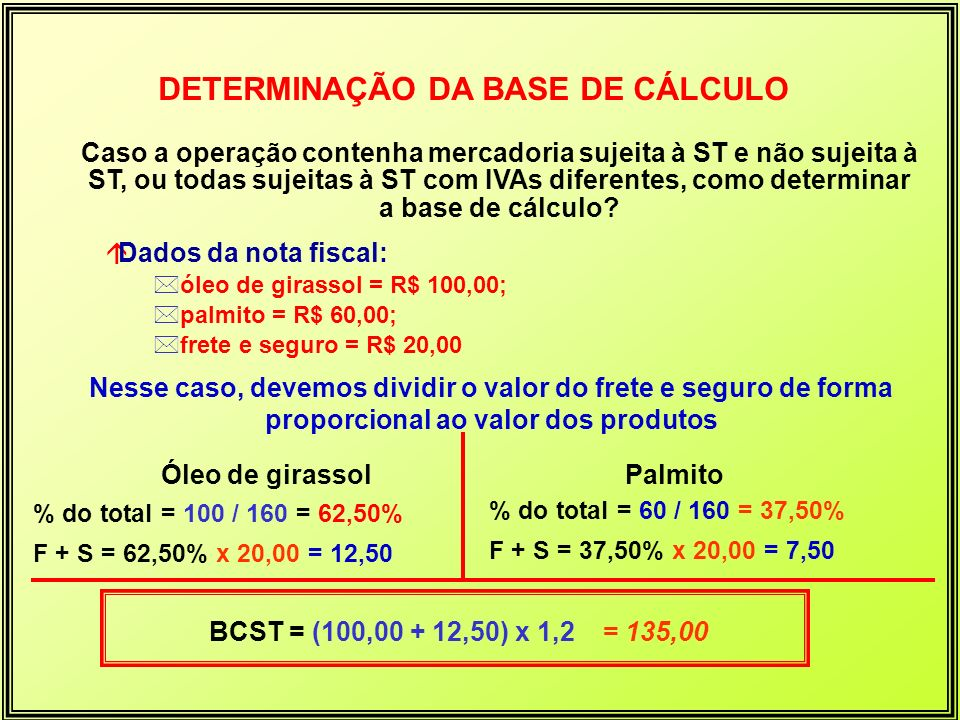 DETERMINAÇÃO DA BASE DE CÁLCULO Caso a operação contenha mercadoria sujeita à ST e não sujeita à ST, ou todas sujeitas à ST com IVAs diferentes, como
