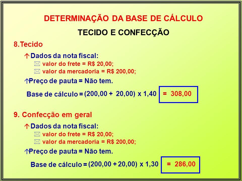 8.Tecido á Dados da nota fiscal: * valor do frete = R$ 20,00; * valor da mercadoria = R$ 200,00; áPreço de pauta = Não tem. Base de cálculo = (200,00
