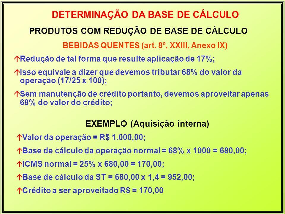 EXEMPLO (Aquisição interna) áValor da operação = R$ 1.000,00; áBase de cálculo da operação normal = 68% x 1000 = 680,00; áICMS normal = 25% x 680,00 =