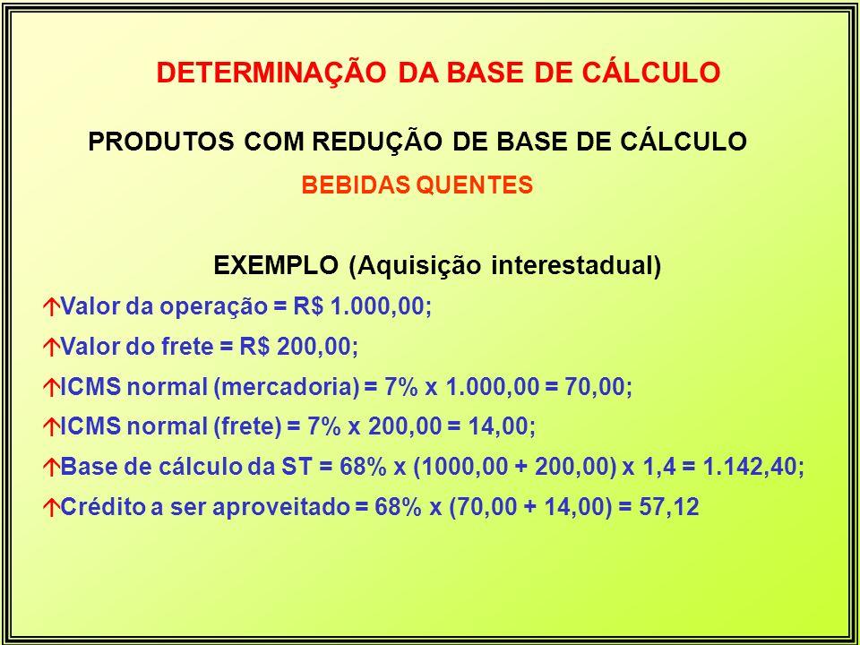 DETERMINAÇÃO DA BASE DE CÁLCULO PRODUTOS COM REDUÇÃO DE BASE DE CÁLCULO BEBIDAS QUENTES EXEMPLO (Aquisição interestadual) áValor da operação = R$ 1.00