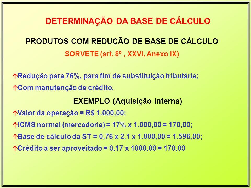 DETERMINAÇÃO DA BASE DE CÁLCULO PRODUTOS COM REDUÇÃO DE BASE DE CÁLCULO SORVETE (art. 8º, XXVI, Anexo IX) áRedução para 76%, para fim de substituição