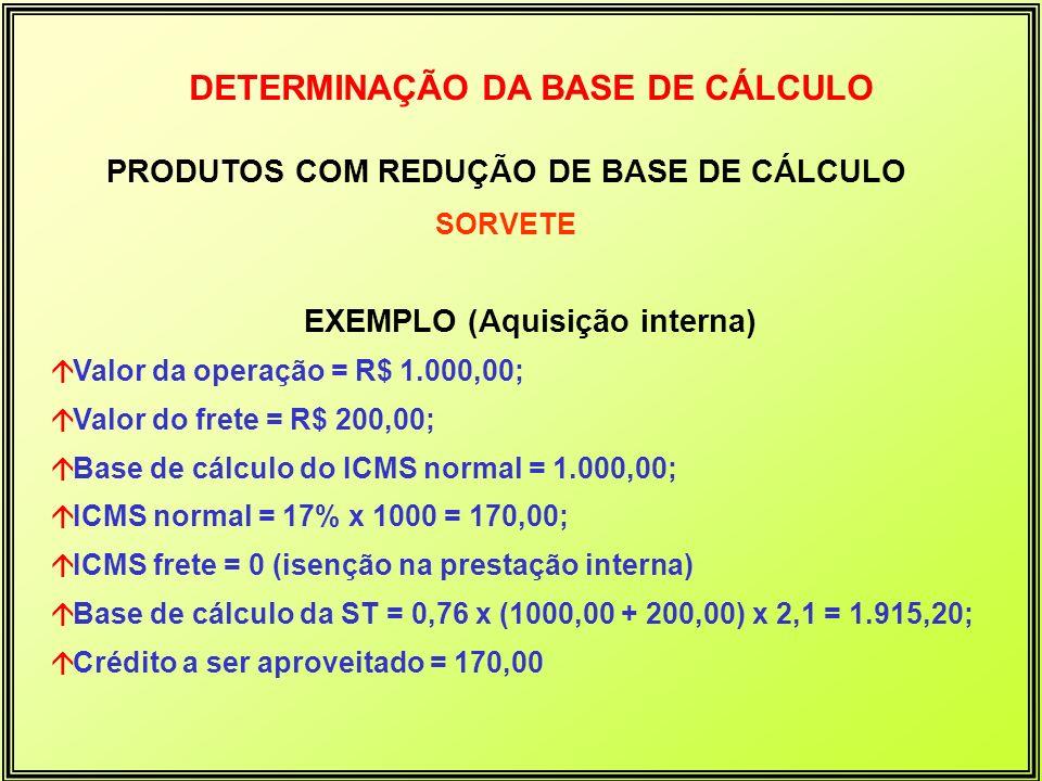 DETERMINAÇÃO DA BASE DE CÁLCULO PRODUTOS COM REDUÇÃO DE BASE DE CÁLCULO SORVETE EXEMPLO (Aquisição interna) áValor da operação = R$ 1.000,00; áValor d