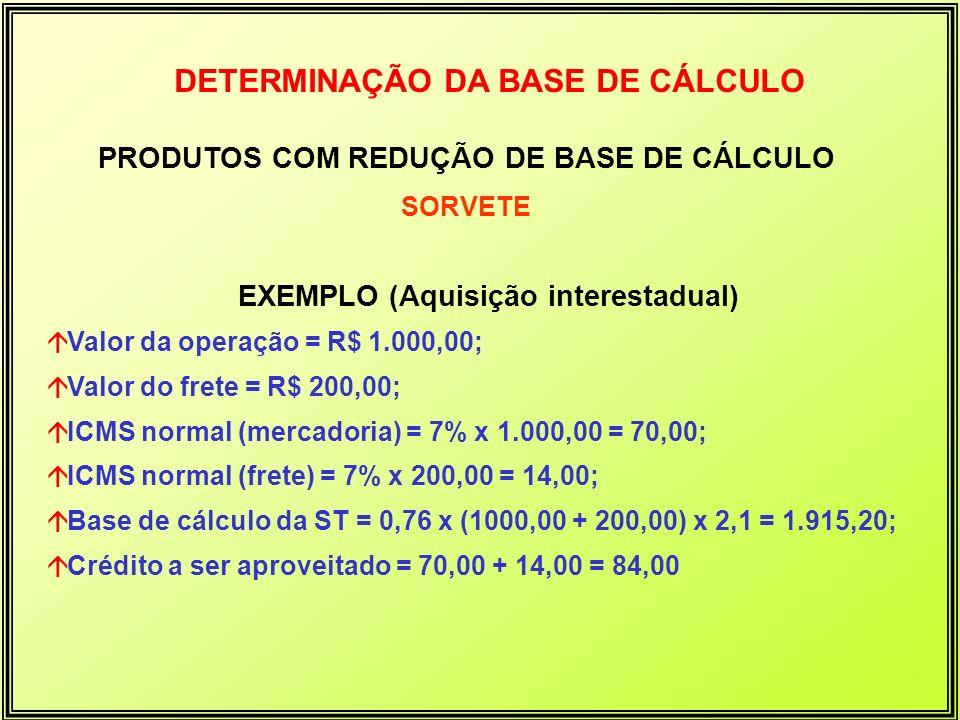 DETERMINAÇÃO DA BASE DE CÁLCULO PRODUTOS COM REDUÇÃO DE BASE DE CÁLCULO SORVETE EXEMPLO (Aquisição interestadual) áValor da operação = R$ 1.000,00; áV