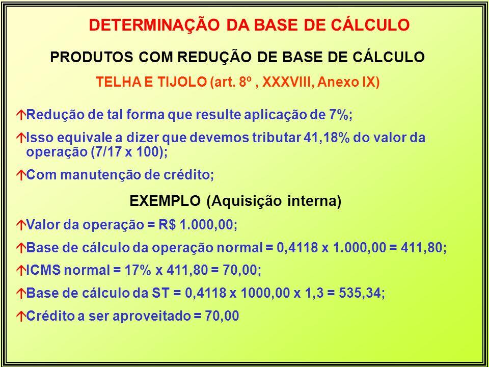 PRODUTOS COM REDUÇÃO DE BASE DE CÁLCULO TELHA E TIJOLO (art. 8º, XXXVIII, Anexo IX) DETERMINAÇÃO DA BASE DE CÁLCULO áRedução de tal forma que resulte